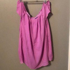 Purple off-the-shoulder dress